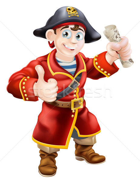 Stock photo: Friendly pirate and treasure map