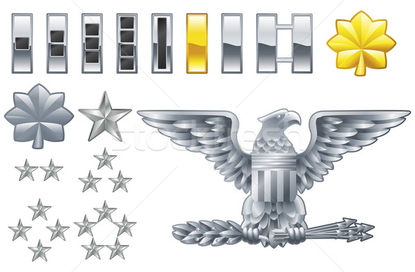 Stock photo: american army officer ranks insignia icons