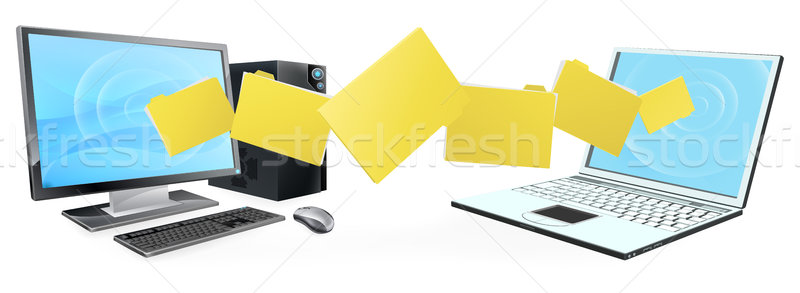 Computer laptop folder transfer Stock photo © Krisdog