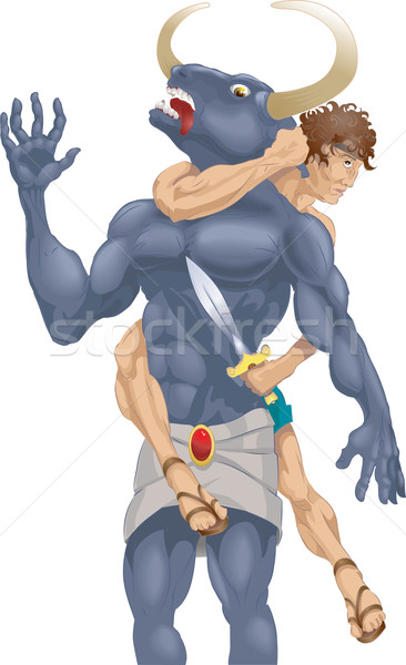theseus and the minotaur illustration Stock photo © Krisdog