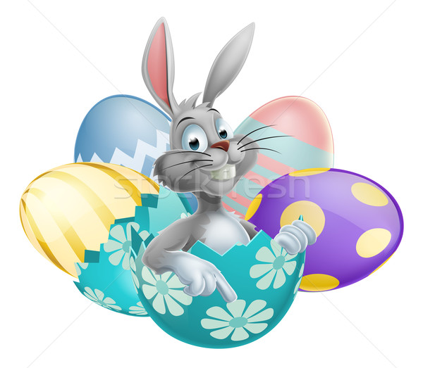 Easter Egg White Rabbit Stock photo © Krisdog