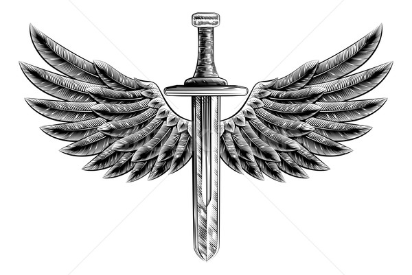 Vintage Woodcut Winged Sword Stock photo © Krisdog