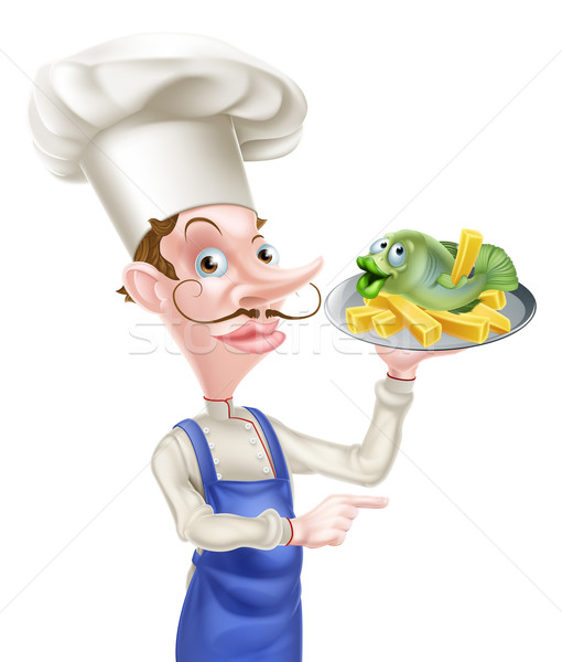 Pointant chef poissons puces cartoon Photo stock © Krisdog