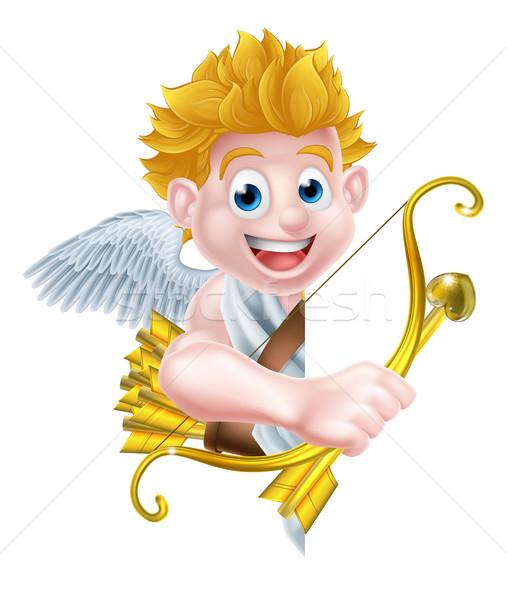 Stock photo: Cartoon Peeking Cupid Angel