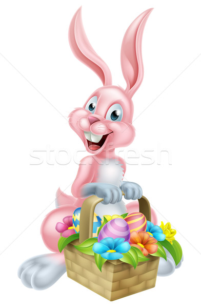 Easter Bunny konijn mand cartoon Pasen Stockfoto © Krisdog