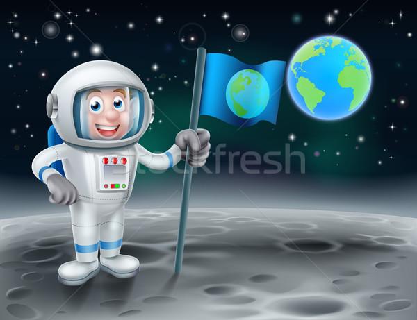 Karikatür astronot ay örnek bayrak Stok fotoğraf © Krisdog