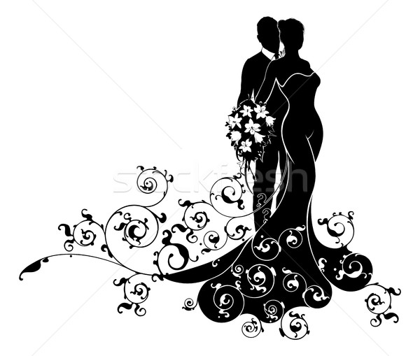 Bride and Groom Wedding Abstract Dress Silhouette Stock photo © Krisdog