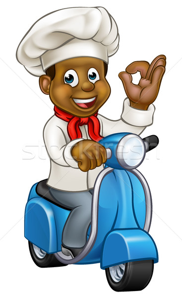 Cartoon Black Delivery Moped Chef Stock photo © Krisdog