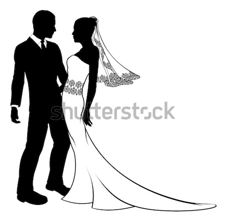 Wedding Silhouette Bride and Groom Stock photo © Krisdog