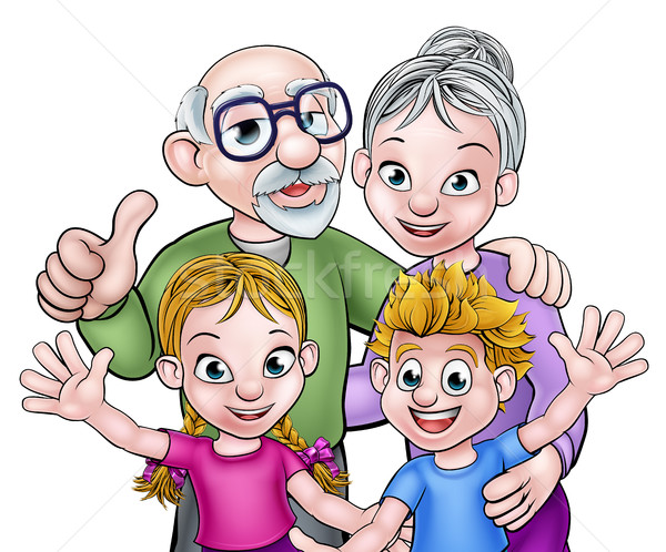 Gyerekek nagyszülők rajz betűk unokák nagyapa Stock fotó © Krisdog