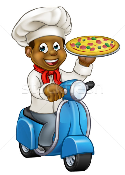 Cartoon livraison pizza chef noir Photo stock © Krisdog