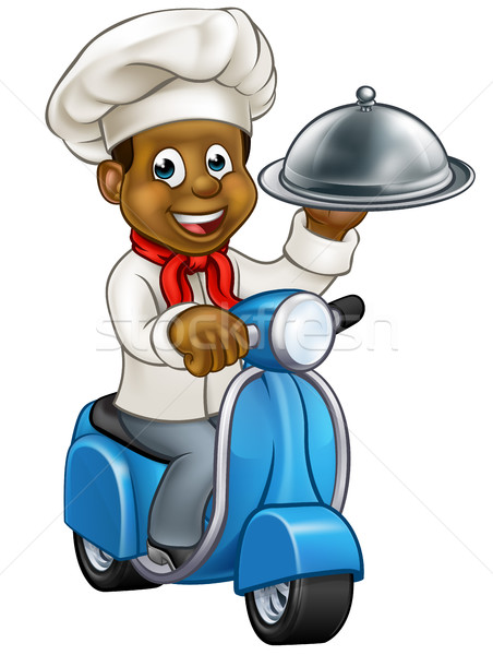 Cartoon Black Chef on Moped Scooter  Stock photo © Krisdog