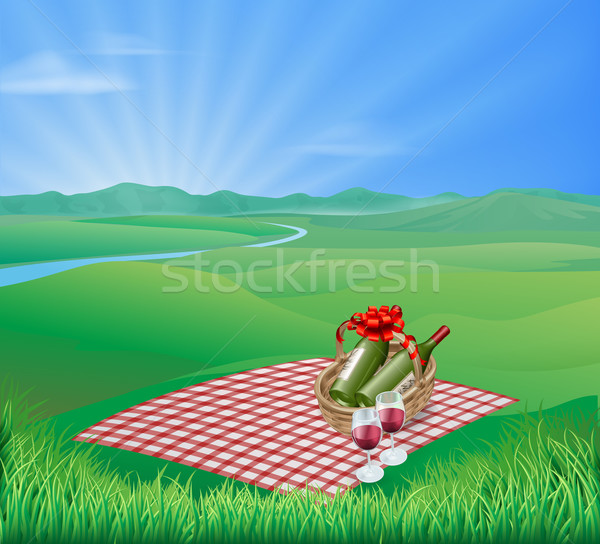 Picknick landschap picknickdeken rode wijn natuurlijke romantische Stockfoto © Krisdog