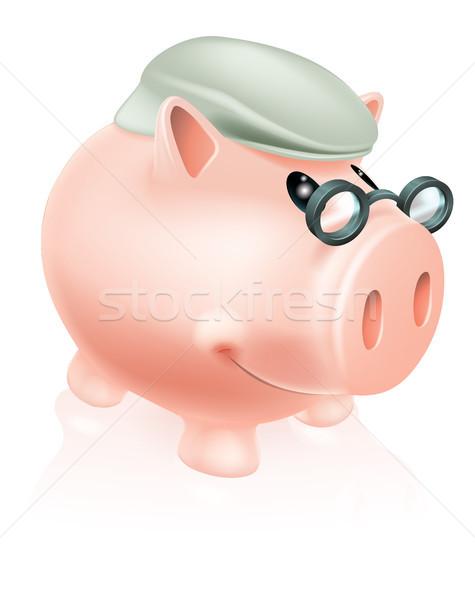 Emerytura oszczędności banku piggy ceny polu Zdjęcia stock © Krisdog