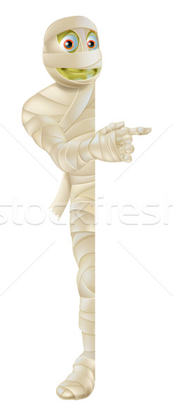 Stock photo: Halloween Mummy Peeping Round Banner