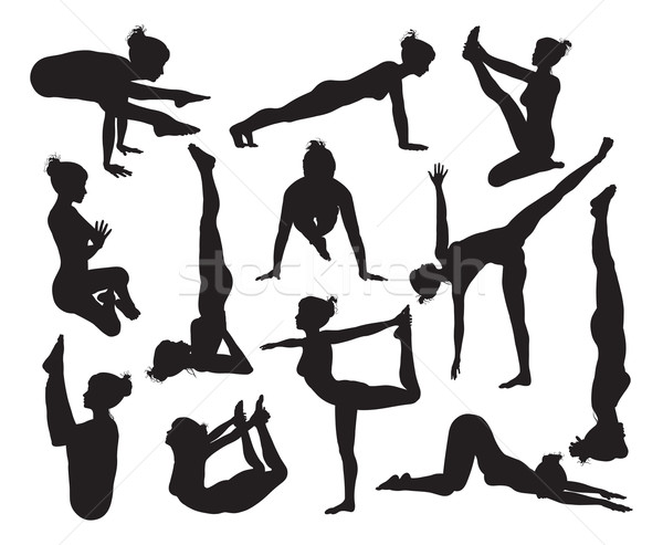 Stock Photo Vector Illustration A Set Of Highly Detailed High Quality Yoga Pose Silhouettes