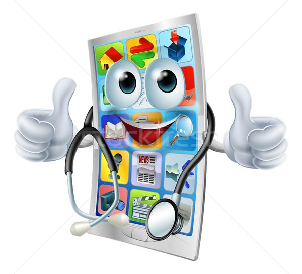 Cartoon phone doctor man Stock photo © Krisdog