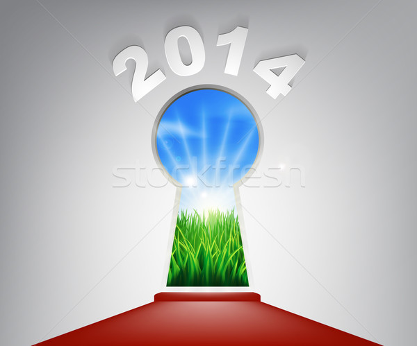 Yılbaşı kırmızı halı 2014 anahtar deliği örnek giriş Stok fotoğraf © Krisdog