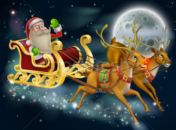Santa Claus Sleigh Scene Stock photo © Krisdog