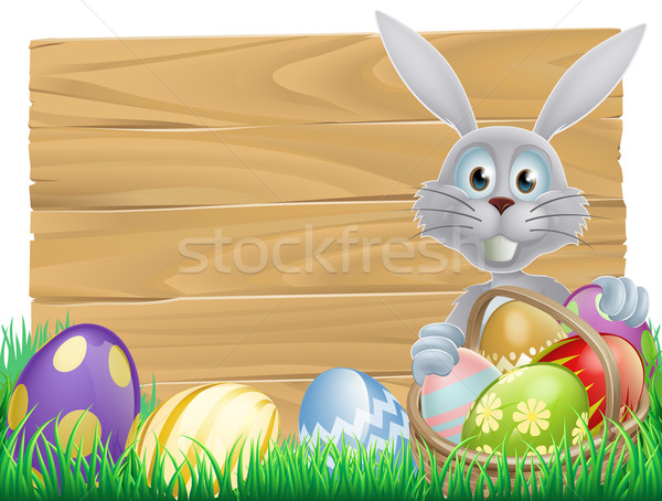 Wooden sign Easter white rabbit Stock photo © Krisdog