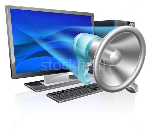 Bilgisayar megafon olarak telefon uçan dışarı Stok fotoğraf © Krisdog