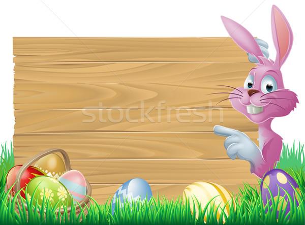 розовый пасхальных яиц знак Пасхальный заяц Cartoon кролик Сток-фото © Krisdog