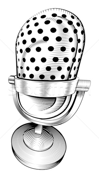 Stock photo: black and white microphone