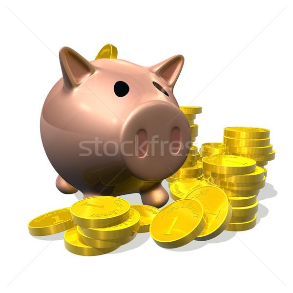 3d render piggy bank and coins illustration Stock photo © Krisdog