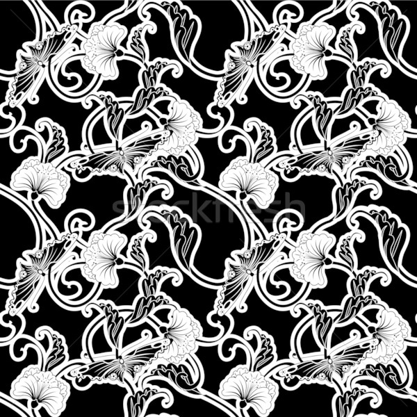 Ornate Japanese inspired black and white repeating seamless tile Stock photo © Krisdog