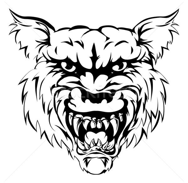 Сток-фото: волка · талисман · характер · черно · белые · иллюстрация