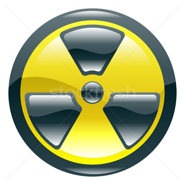 Glossy shint radiation symbol icon Stock photo © Krisdog