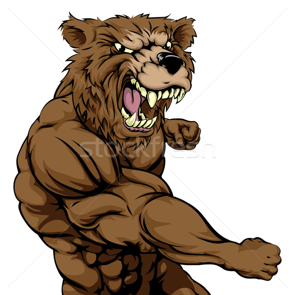 Mean bear sports mascot punching Stock photo © Krisdog