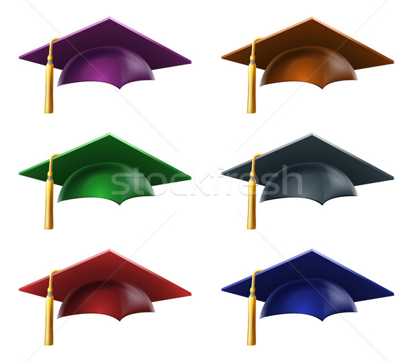Graduate hats or caps Stock photo © Krisdog