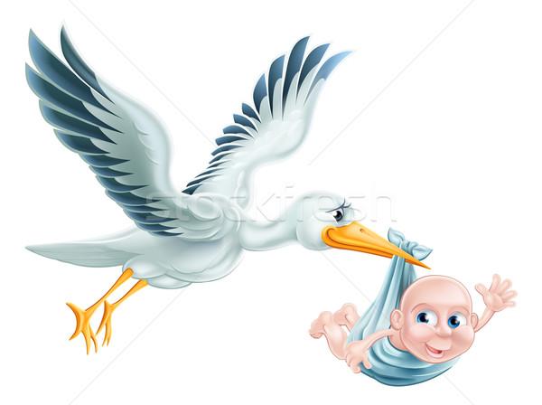 Stork and Baby Flying Cartoon Stock photo © Krisdog