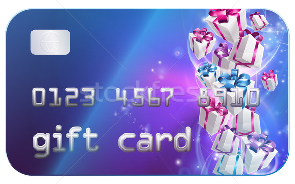 Geschenkkarte Kreditkarte Stil Illustration Geschenke präsentiert Stock foto © Krisdog