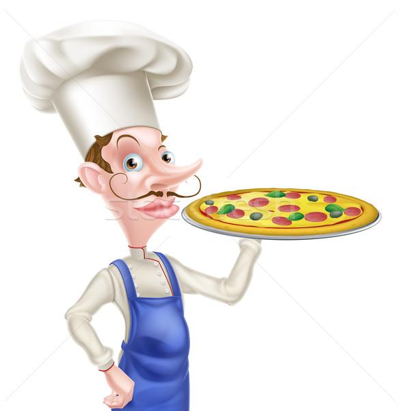 Pizza szakács 2015 étel kéz jókedv Stock fotó © Krisdog