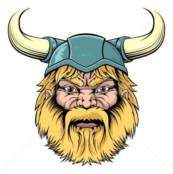 Viking guerrier mascotte illustration résistant regarder Photo stock © Krisdog