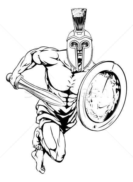 Trojaans krijger karakter illustratie gladiator sport Stockfoto © Krisdog