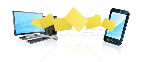 компьютер телефон файла передача файла Сток-фото © Krisdog