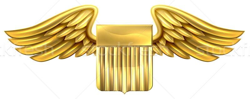 щит крыльями золото металлический геральдика Сток-фото © Krisdog