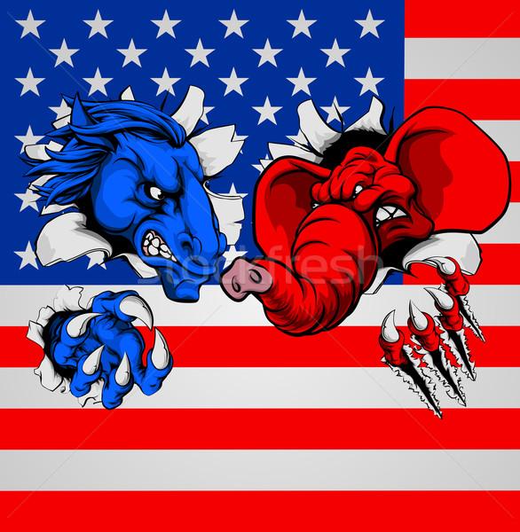 Demokrat cumhuriyetçi fil eşek kavga amerikan Stok fotoğraf © Krisdog