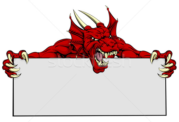 Red Dragon Sports Mascot Sign Stock photo © Krisdog