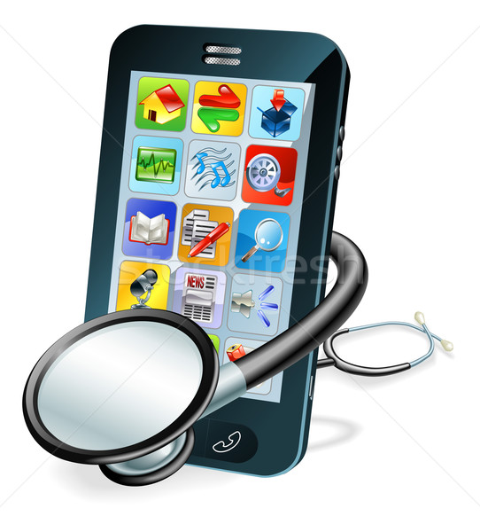 Cell phone health check concept Stock photo © Krisdog