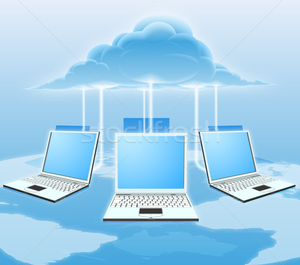 Illustration nuage carte du monde internet Photo stock © Krisdog