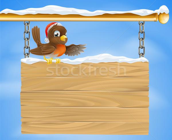 Christmas sign robin bird Stock photo © Krisdog