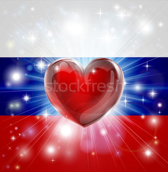 Love Russia flag heart background Stock photo © Krisdog