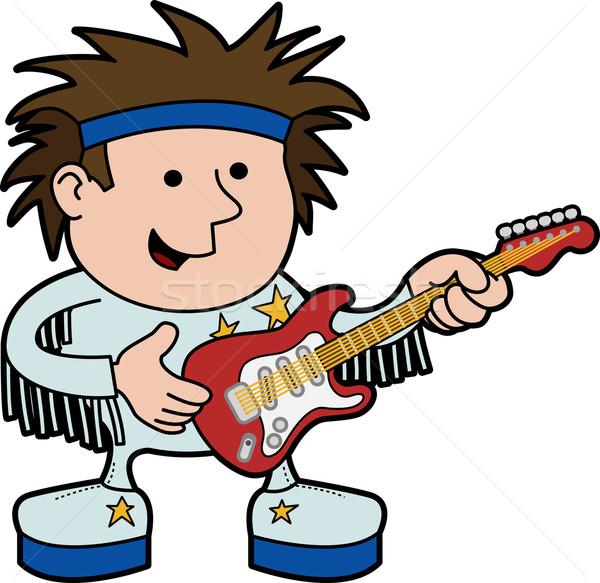 Illustratie rock rollen muzikant elektrische gitaar muziek Stockfoto © Krisdog