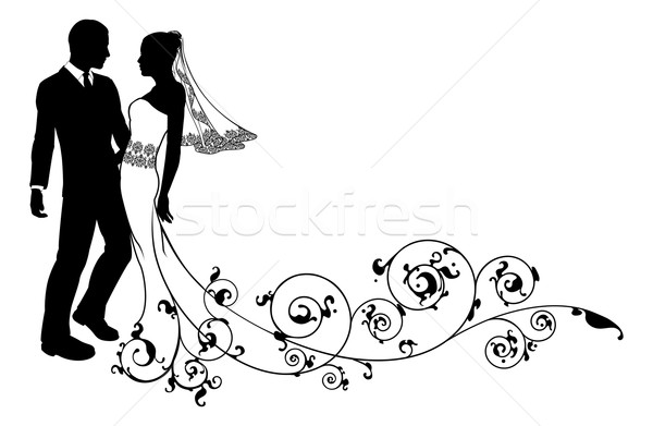 Wedding couple bride and groom silhouette Stock photo © Krisdog