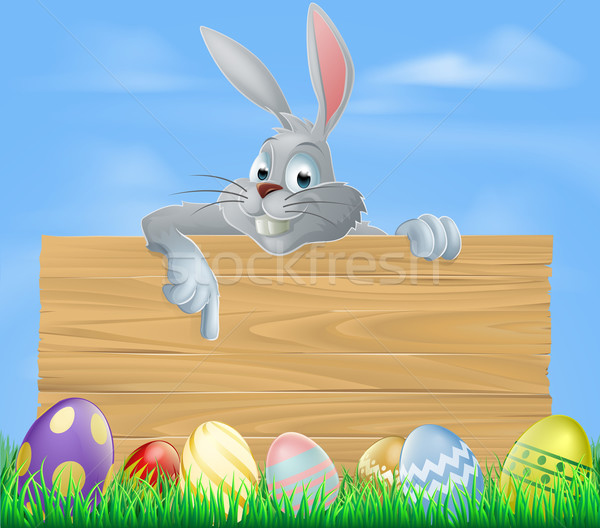 Easter bunny and wooden sign Stock photo © Krisdog