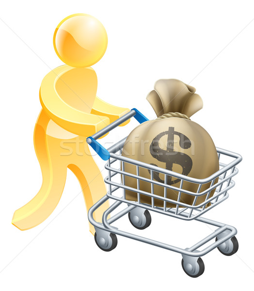 Money shopping cart trolley person Stock photo © Krisdog